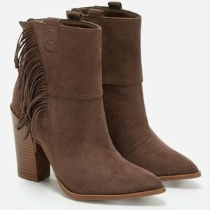 Just Fab Kaiya Womens Ankle Bootie Taupe Size 7